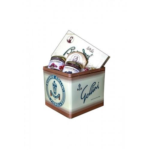 confezione regalo Gollini torta Barozzi 700 gr, torta Muratori 100 gr, composta ciliegie e composta morette di Vignola